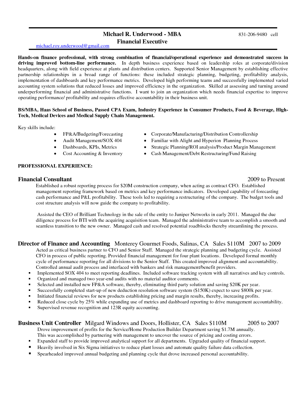 Controller Resume Examples For Employment Brilliant Sample