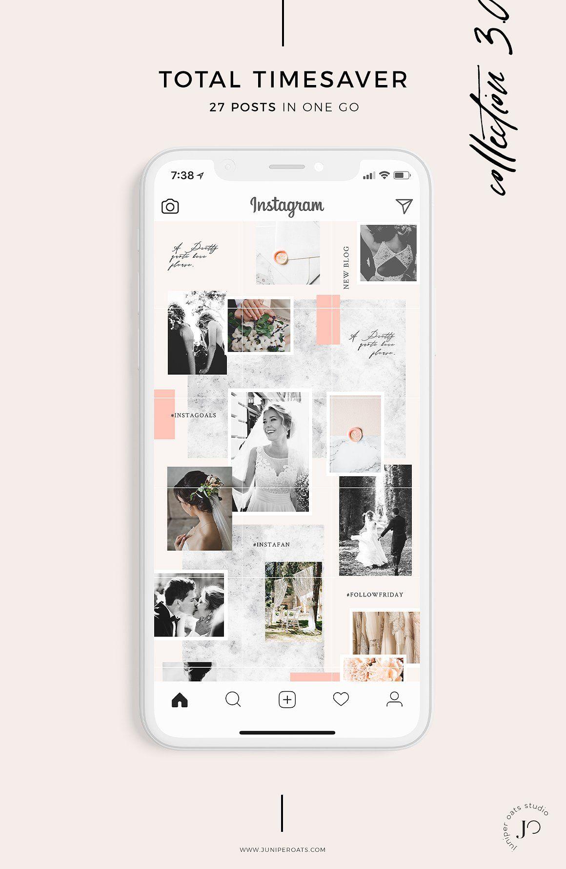 Flora Instagram Puzzle Template Instagram Typographie Graphisme