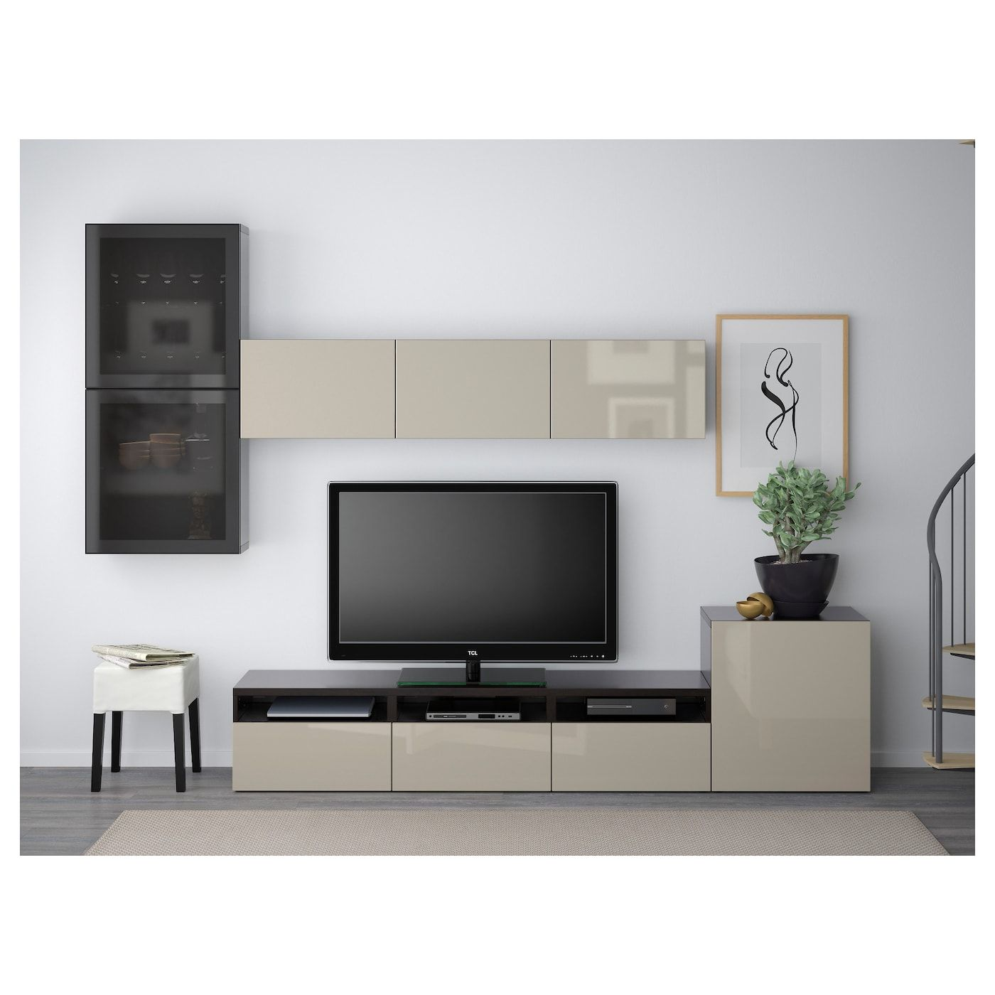 Ikea Besta Tv Storage Combination Glass Doors Black Brown