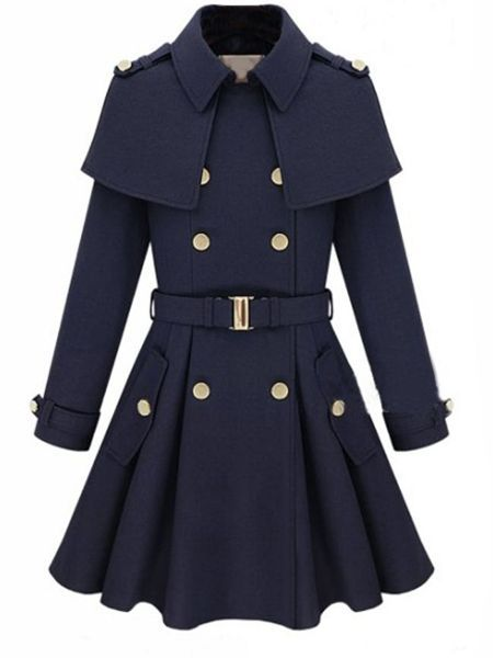 Chic Polo Collar Breasted With Pockets Trench-Coats