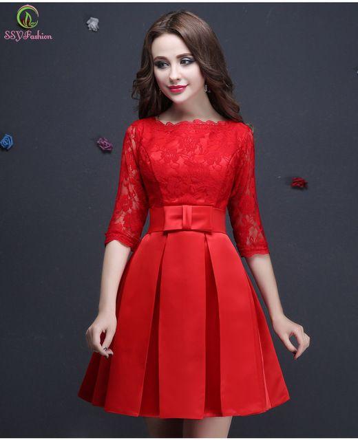 94b7c6804 Vestido De Fiesta Rojo de Encaje Media Manga vestido de Noche Corto Elegante  vestidos de Novia Banquete Más Tamaño Prom Vestido Formal Robe De Soiree