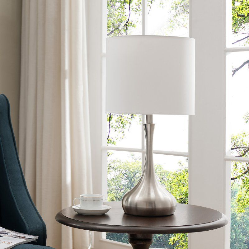 K&B Furniture L221 Brushed Nickel and White Table Lamp