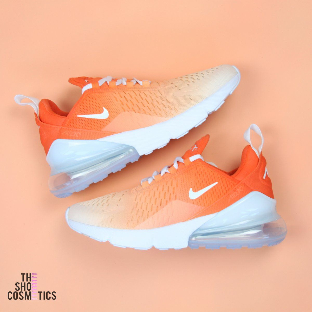 Orange ombre nike air max 270's custom shoes in 2019
