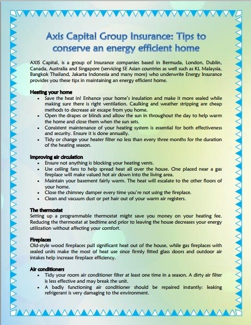 Axis Capital Group Insurance Tips To Conserve An Energy Efficient