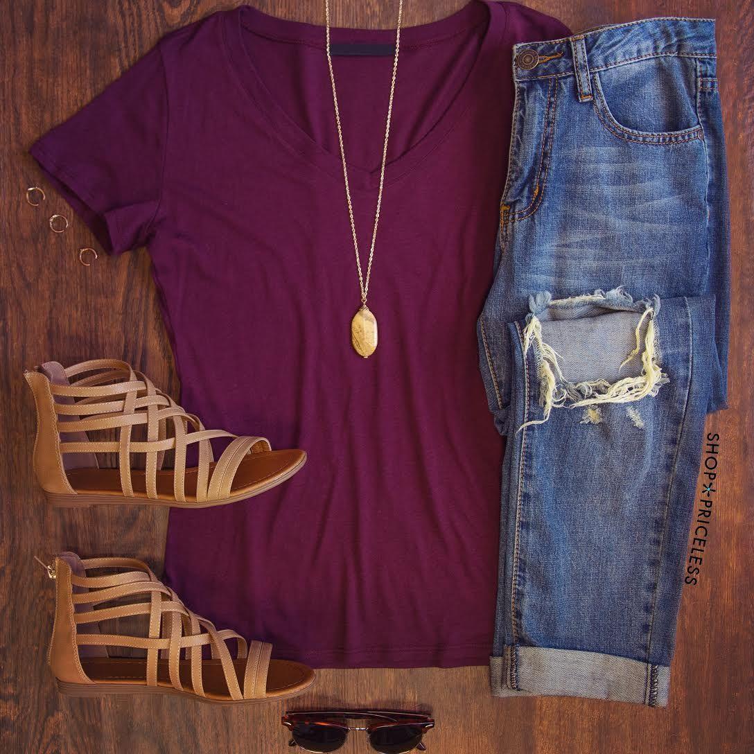 Jenna Basic Top Burgundy Simple School Outfits Spring School Outfits Summer Photo Outfits