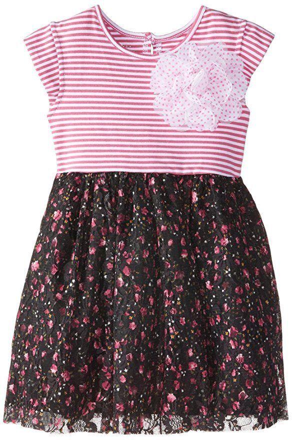 Marmellata Baby Girls Stripes and Flowers Dress