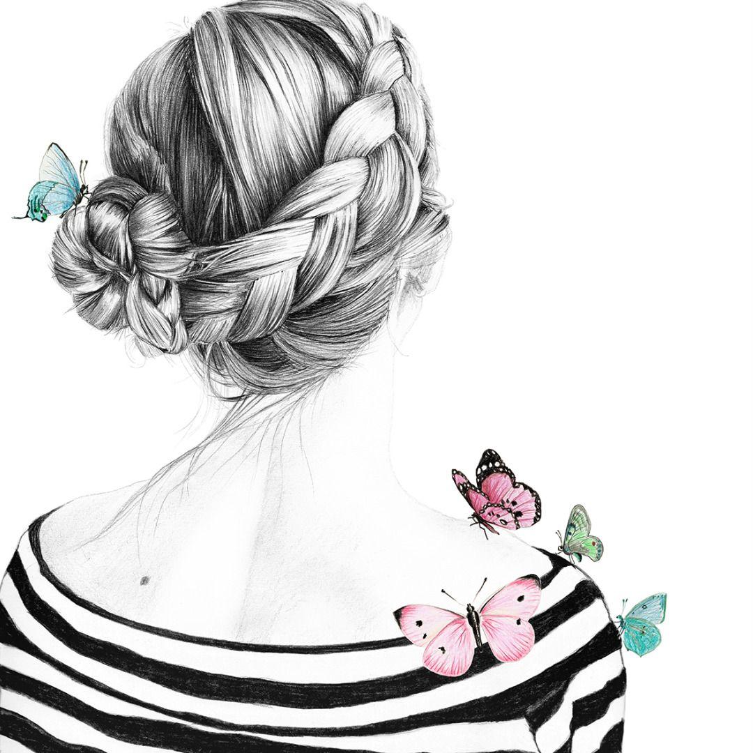 Rosali 05, Zeichnung, Mädchen, Haare, Frisur, Dutchbraid