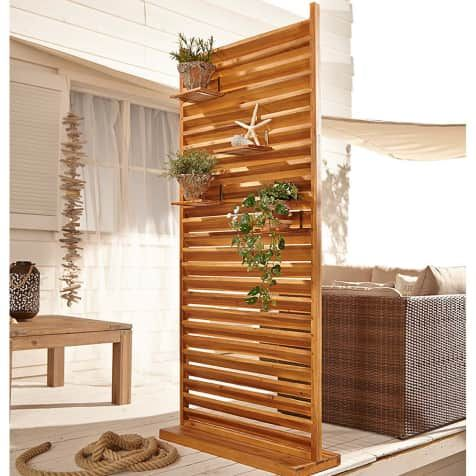 Outdoor-Sichtschutz, groß Lamellen, Akazienholz