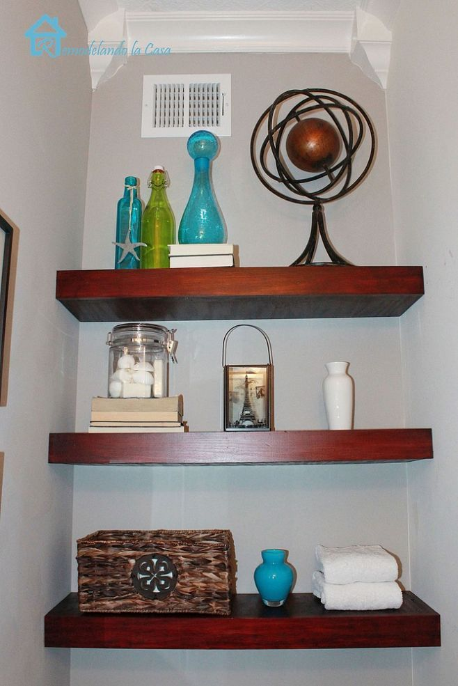 Building Floating shelves in a Small Bathroom