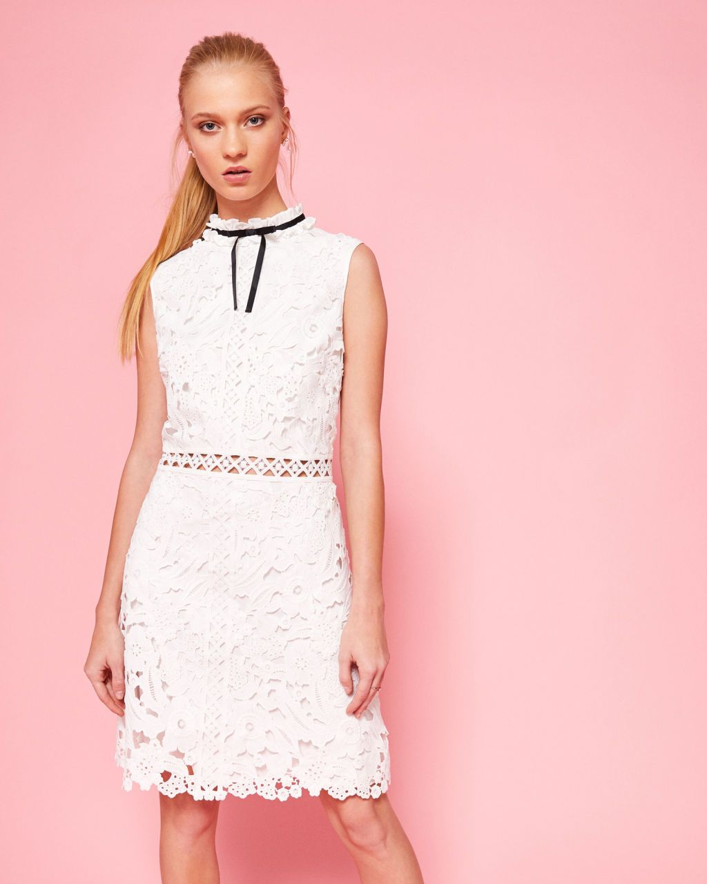 Ted Baker Ruffle neck lace shift dress White