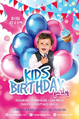 Kids Birthday Party Free Psd Flyer Template  Jj