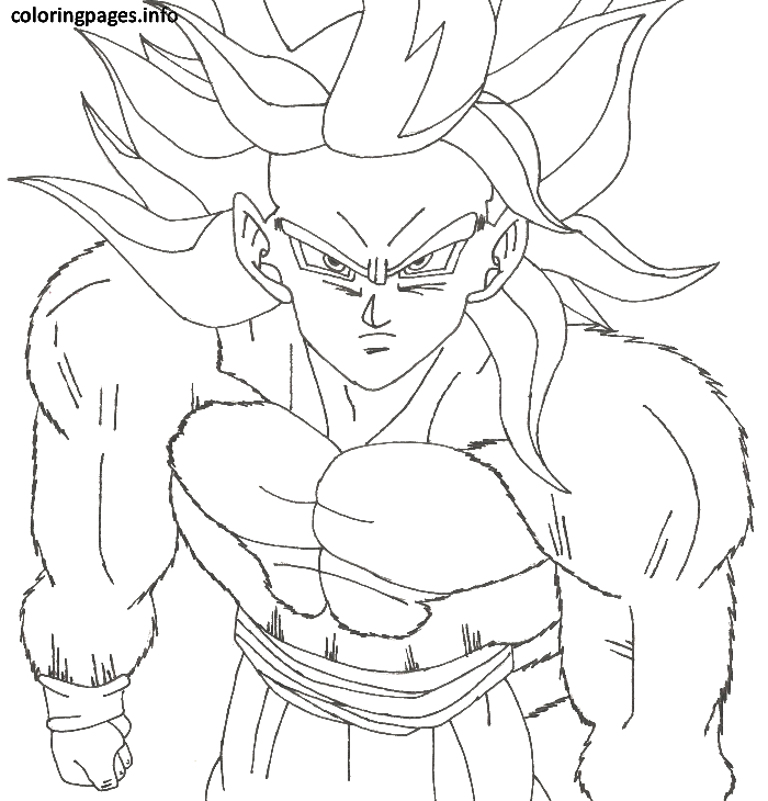 Goku Super Saiyan 4 Coloring Pages Hero Cartoon For Boys