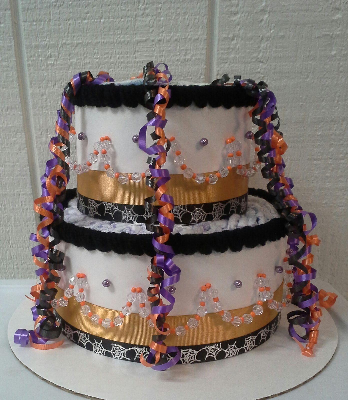 halloween diaper cake orange black and purple elegant themed baby