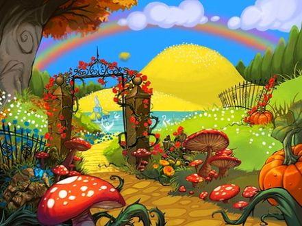 Door To Fantasy Garden Fantasy Garden Paint Mushroom