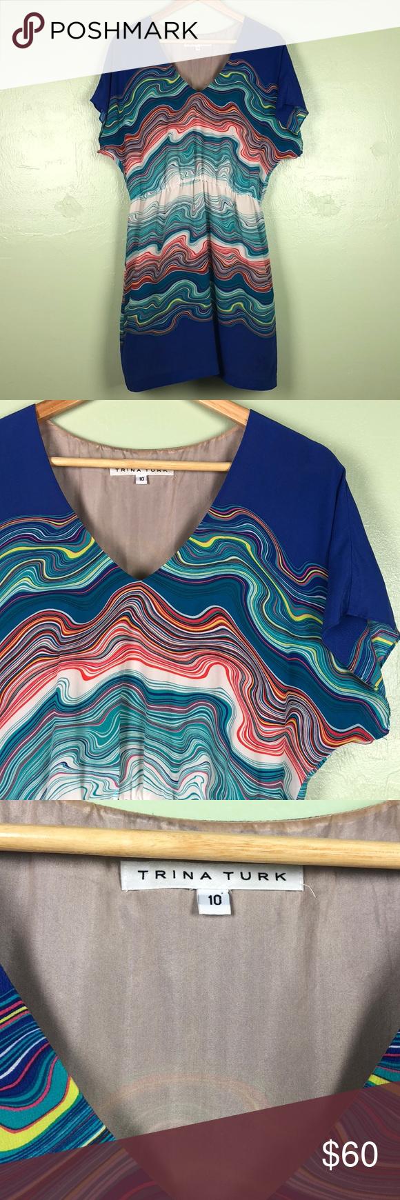 Trina Turk Multicolor Water Ripple Silk Dress Excellent condition. Trina Turk Multicolor Water Ripple pattern Silk Dress. 100% silk. Lined. Absolutely gorgeous. Size 10. Trina Turk Dresses #waterripples