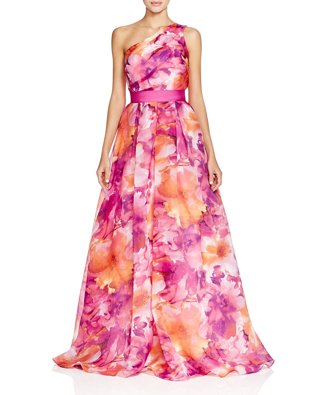 67442bdda9f2 Carmen Marc Valvo One Shoulder Floral Print Gown | Wedding guest ...
