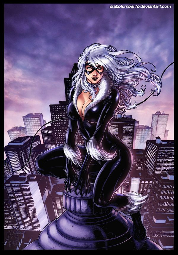 Art black cat fan nude