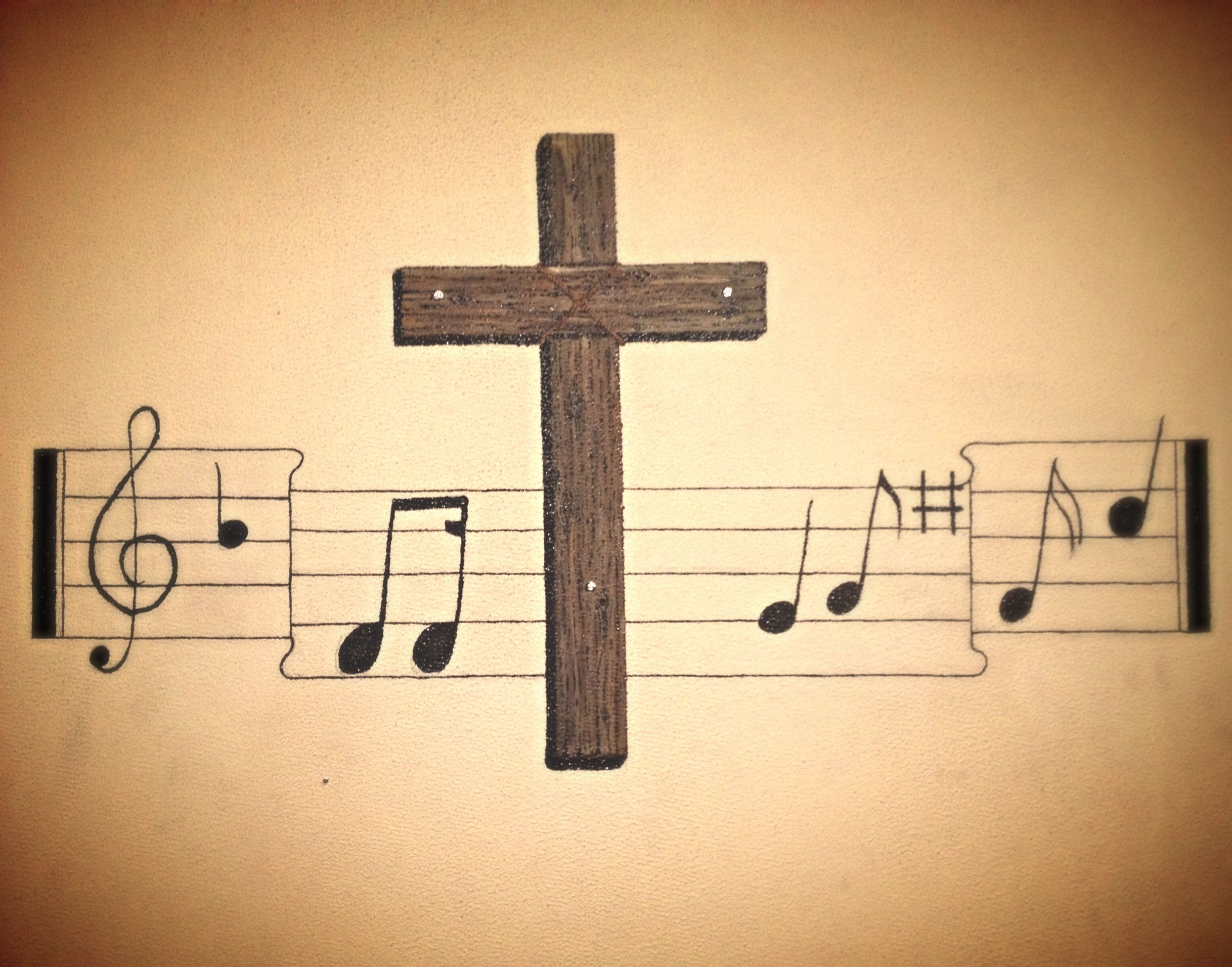 Cross with Music Notes Wall Mural!!!! | For the Home | Pinterest ...