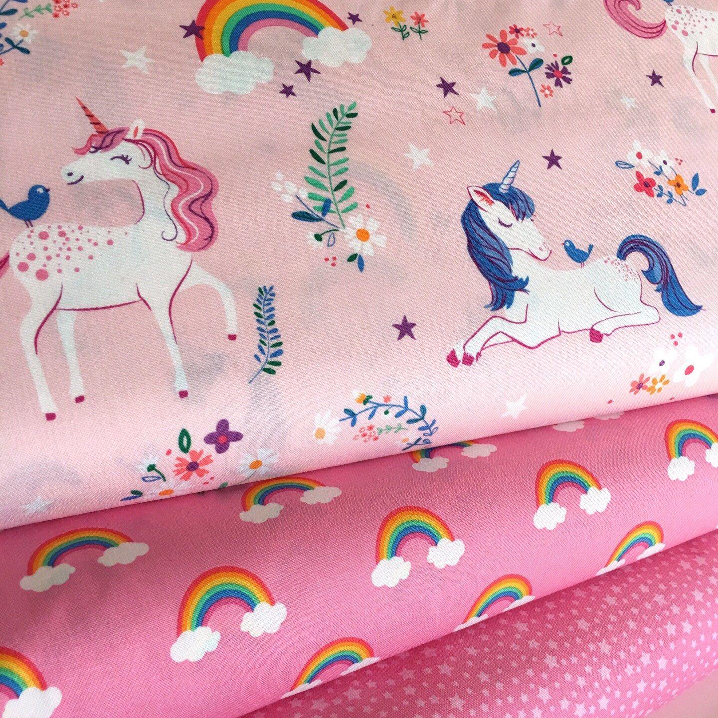 UNICORN Princess Floral COTTON Fabric Children Nursery Dressmaking OEKO-TEX