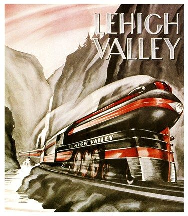 Vintage Apple Collection Lehigh Valley Train Art Train Posters