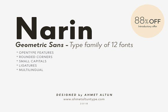 Narin Font Family Intro Offer 88%off by ahmetaltuntype on @creativemarket