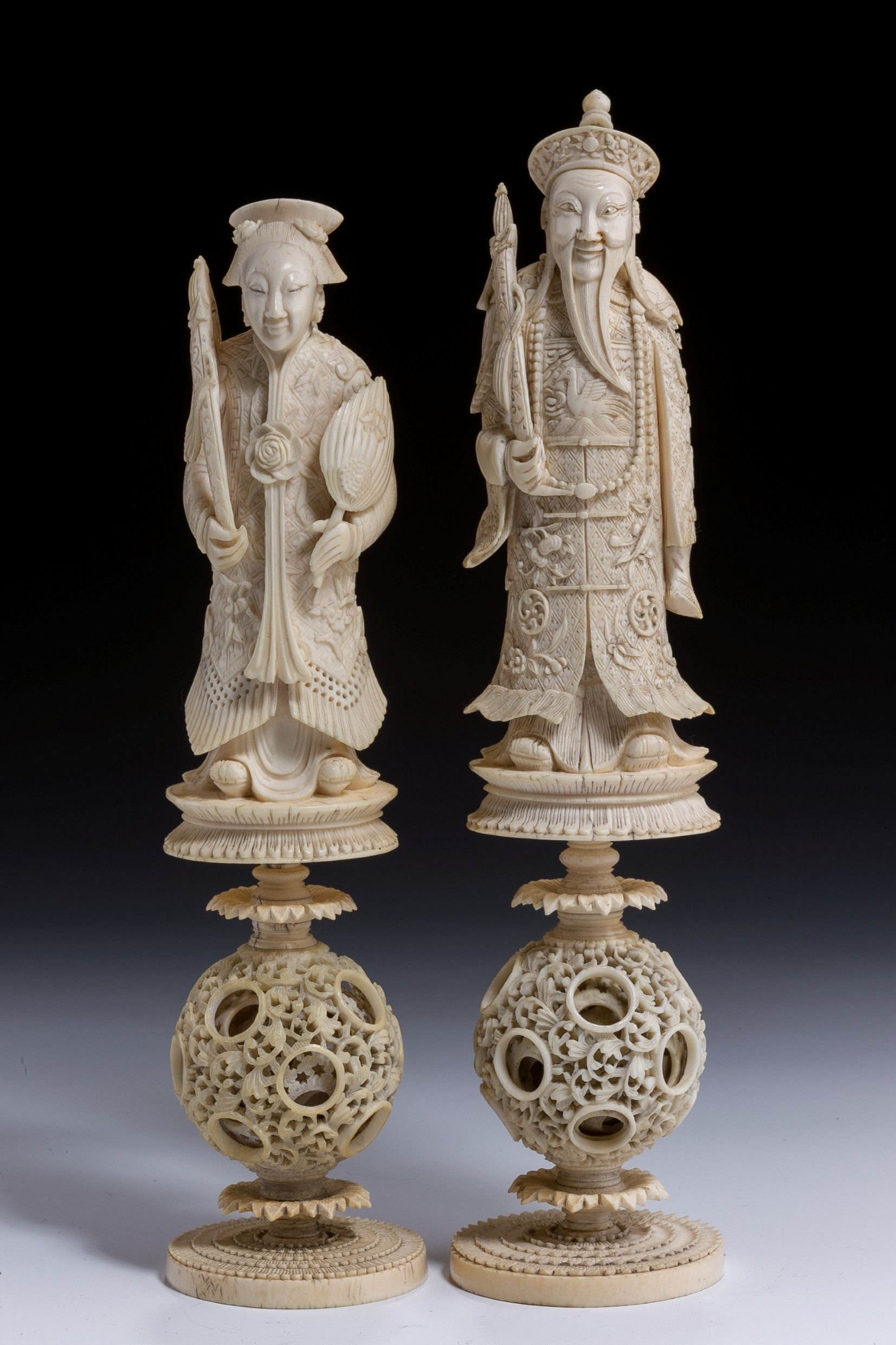 Pair Of Antique Chinese Ivory Chess Pieces Date Circa 1860 Stock