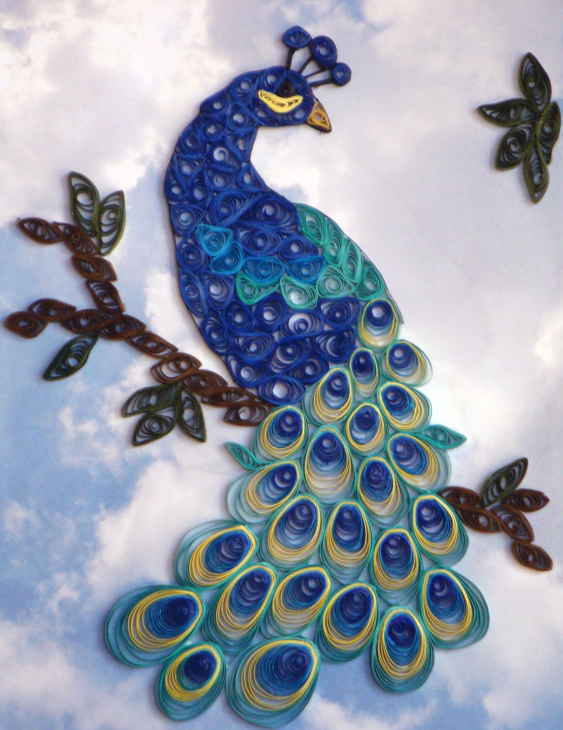 Quilling designs peacock images for Best quilling designs