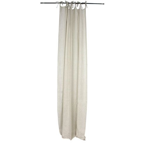 Natural Cotton Side Embellished 55 x 102-Inch Curtain Panel
