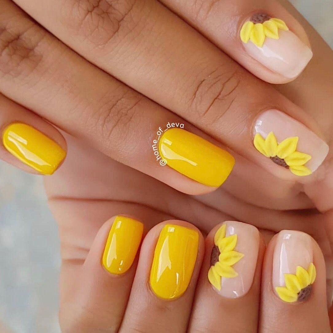 Pin En Nails In 2020 Square Acrylic Nails Yellow Nails Nail Designs