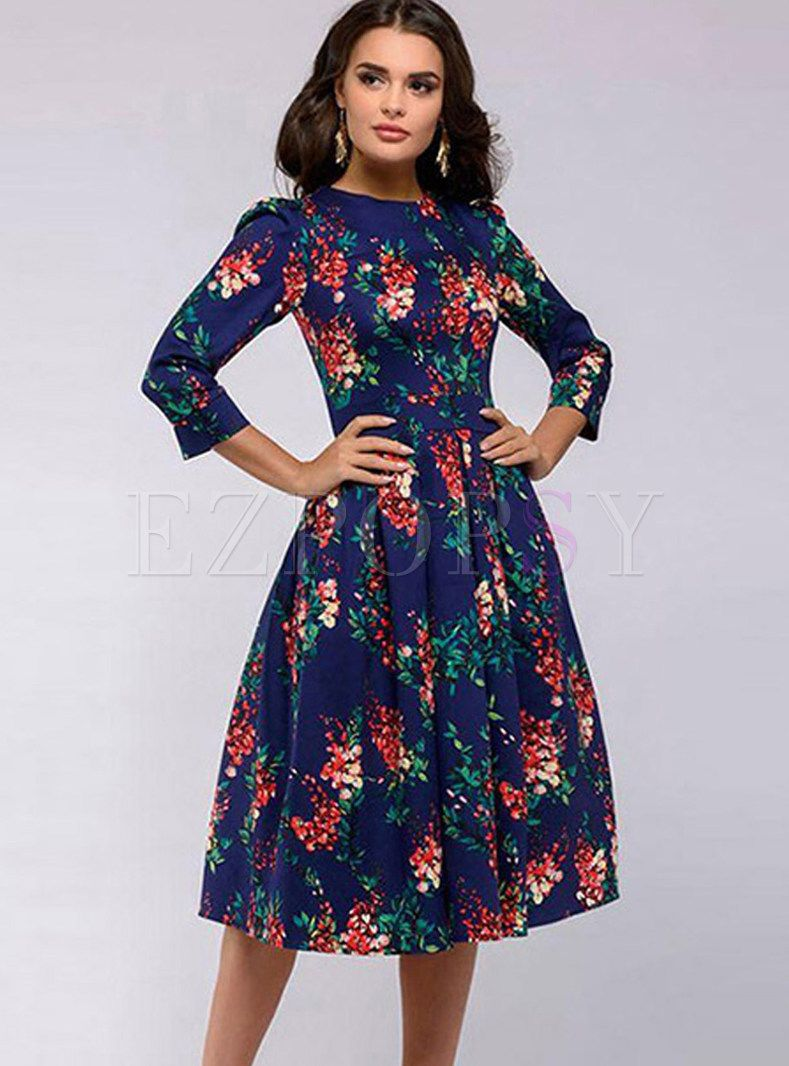 Casual Three Quarters Sleeve Pleated A Line Dress A Line Dress Party Dress Long Sleeve Casual Silk Dresses [ 1066 x 789 Pixel ]