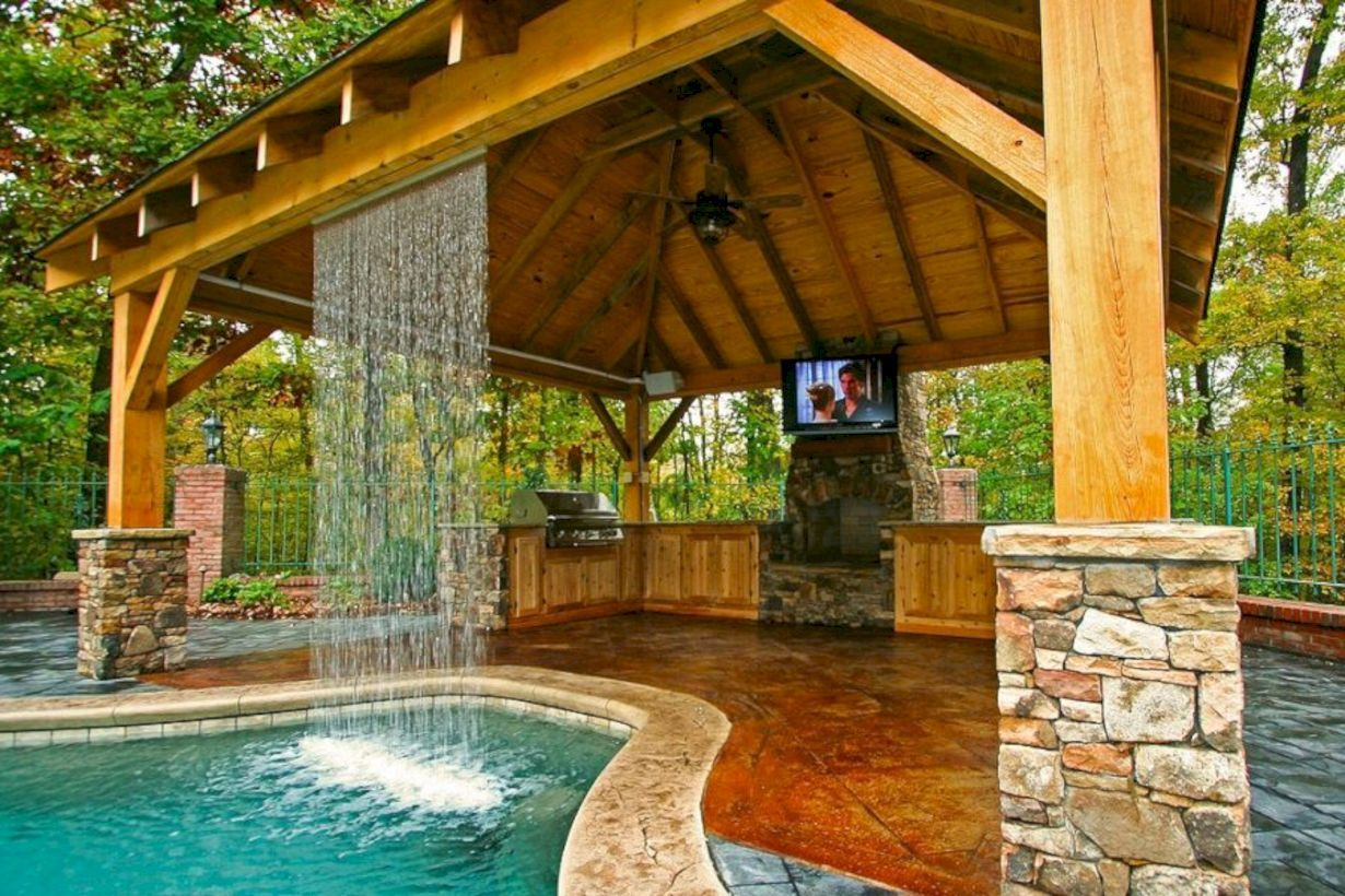 Amazing 47 Incredible Pool Design Ideas For Your Backyard Backyard Pool Designs Rustic Outdoor Kitchens Outdoor Kitchen Design