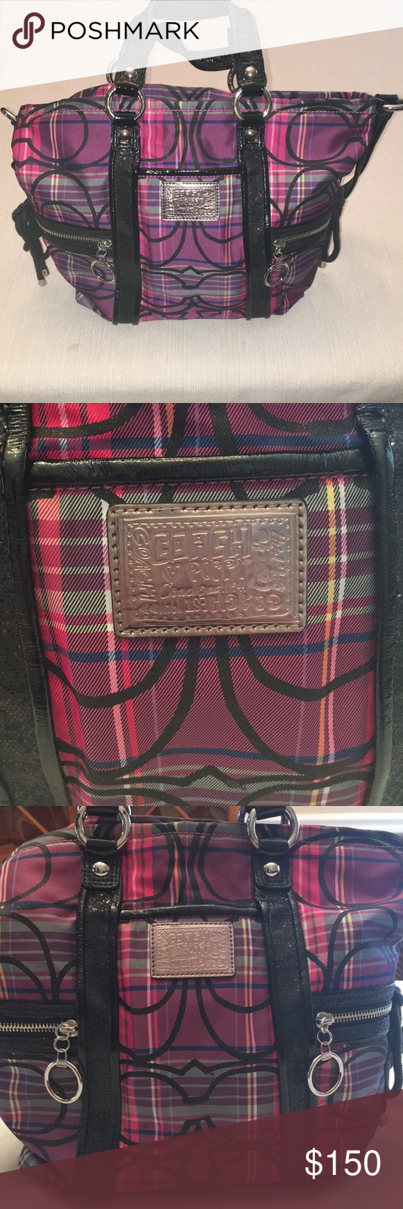 bfbb0bc7a3f Coach Poppy purple and pink plaid purse Coach Poppy purple and pink plaid  purse! Super cute plaid pattern with sparkly black hand and shoulder straps.