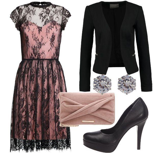 8e4efa41c3d8 ... romantica composto da abito in merletto nero con sottoveste in  contrasto