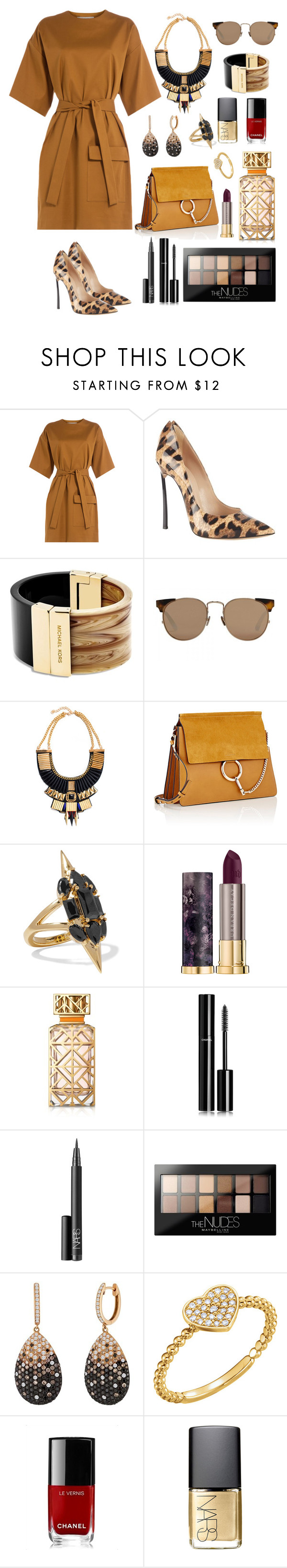 """Mustard"" by shanelderouge ❤ liked on Polyvore featuring MSGM, Casadei, Michael Kors, Linda Farrow, Collections by Hayley, Chloé, Noir Jewelry, Urban Decay, Tory Burch and Chanel"