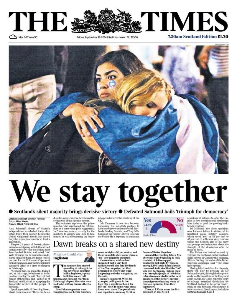 The Times, front page after Scotland votted No on