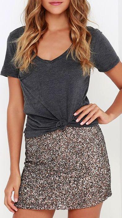 8210a54ca9 Billabong Showin' Off Bronze Sequin Skirt   style.   Fashion, Sequin ...