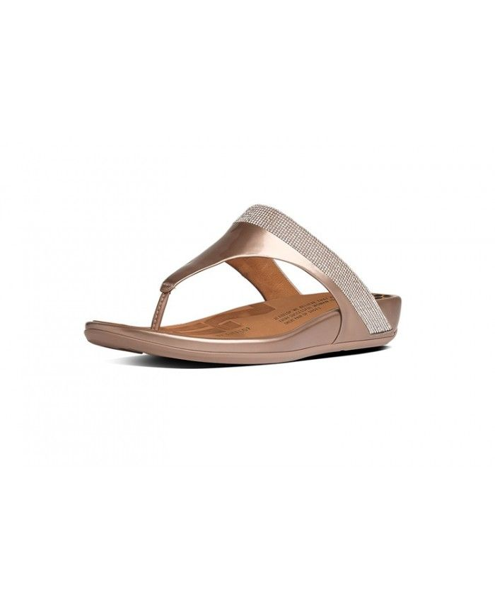 5cf7d4cdab73 Fitflop Women Banda Micro Crystal Toe Post Leather Gold Sale ...