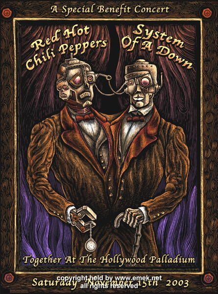 Red Hot Chili Peppers System Of A Down Concert Poster Art