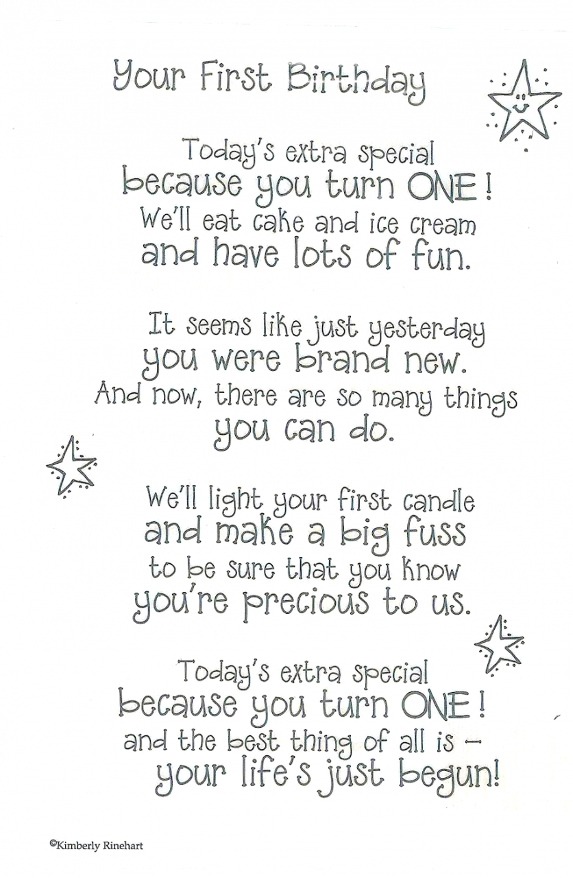 Heres a first birthday poem Look for cards for all occasions in – 1st Birthday Card Verses