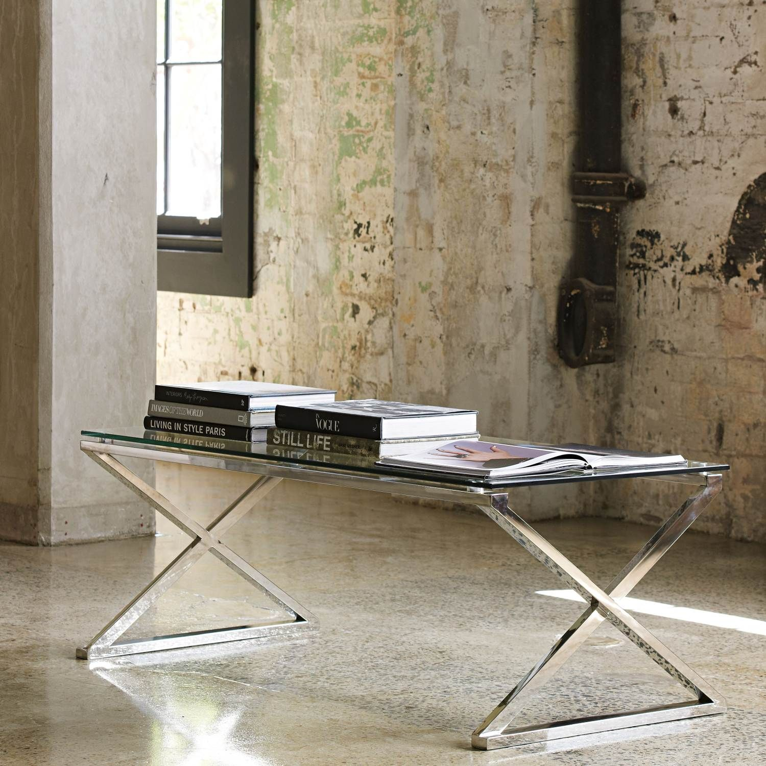 Dream Glass top Stainless Steel Coffee Table from Domayne line