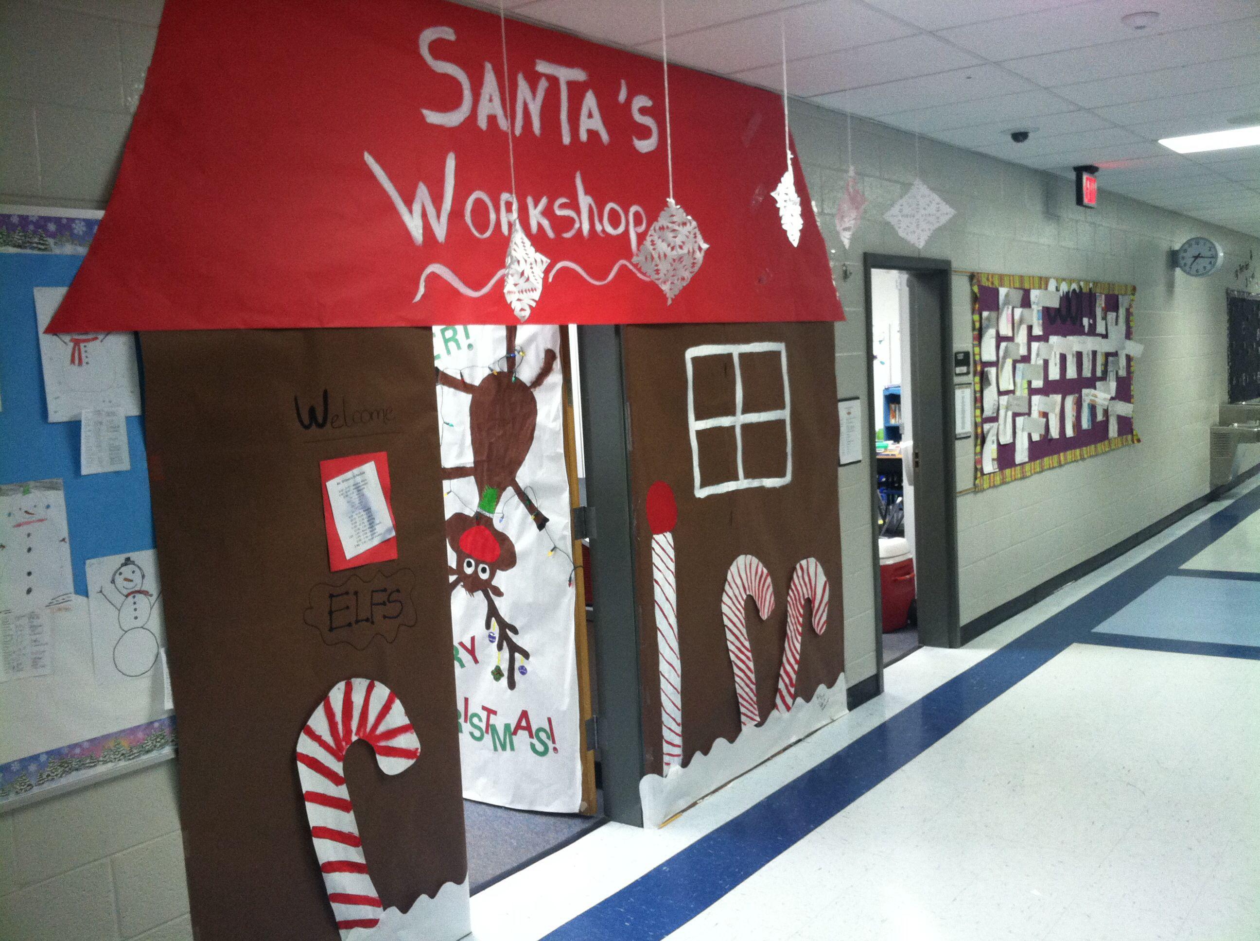 Santa's Workshop Door Decoration | Santas Workshop ...