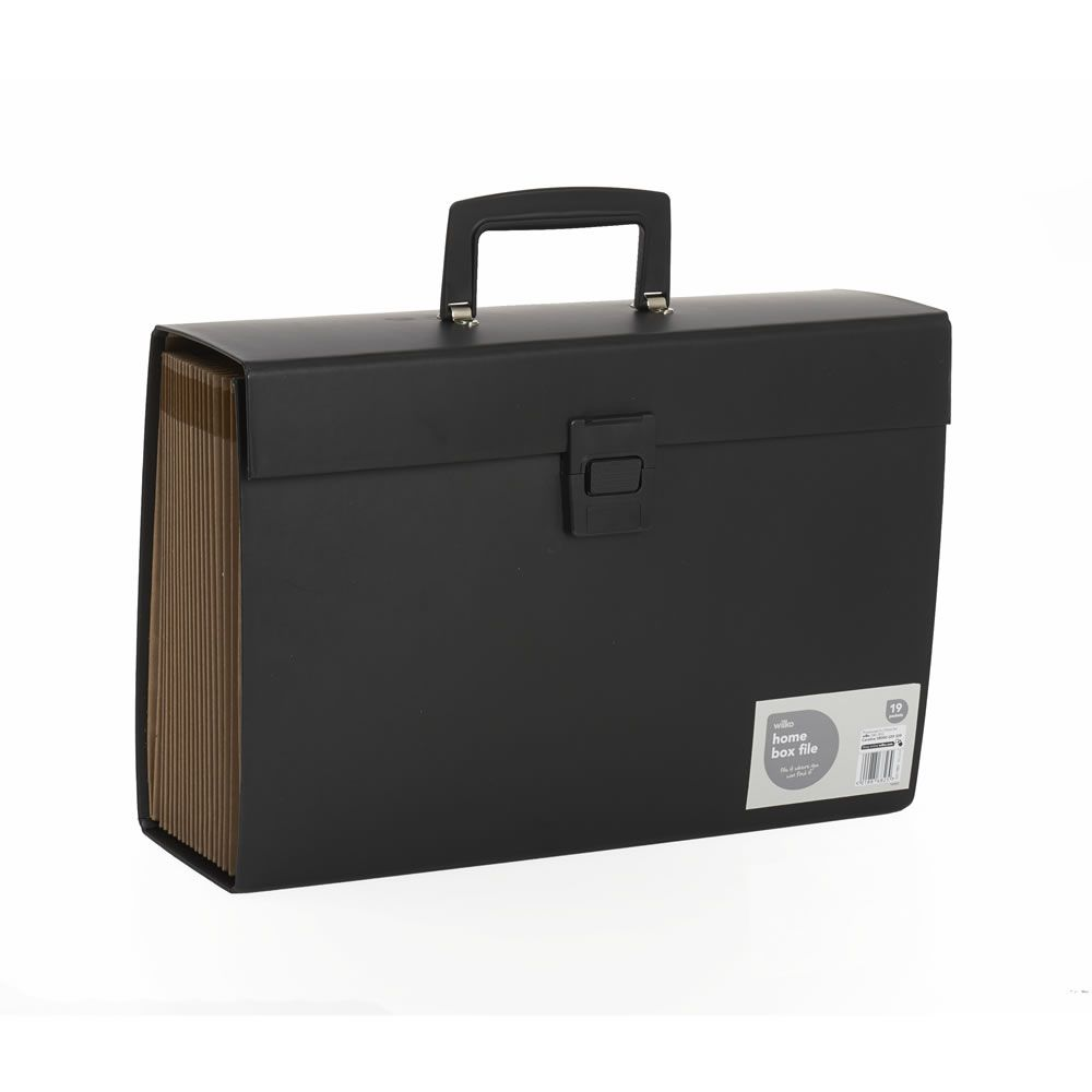 A4 black expanding box file with 19 sections wilko home