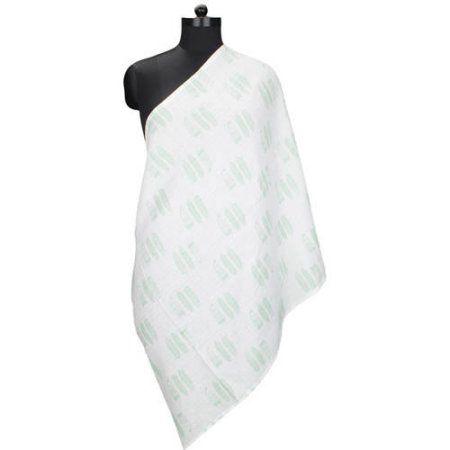 Bacati Noah Tribal Mint Feathers 100 Percent Cotton Breathable Muslin Breastfeeding/Nursing Scarf