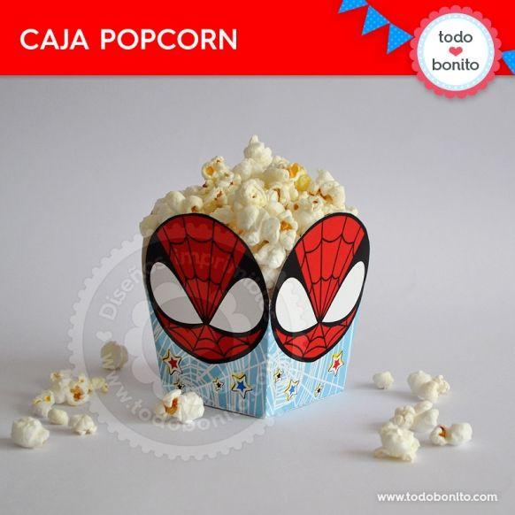 Hombre Araña: caja popcorn para imprimir