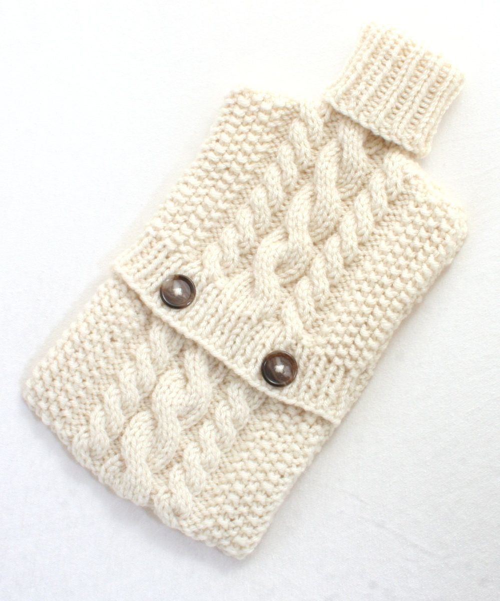 Free Knitting Pattern for Cable Hot Water Bottle Cozy - This pattern ...