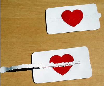 10 most creative business cards graphic design pinterest divorce lawyers business card with die cut heart and zip strip pull tab reheart Gallery
