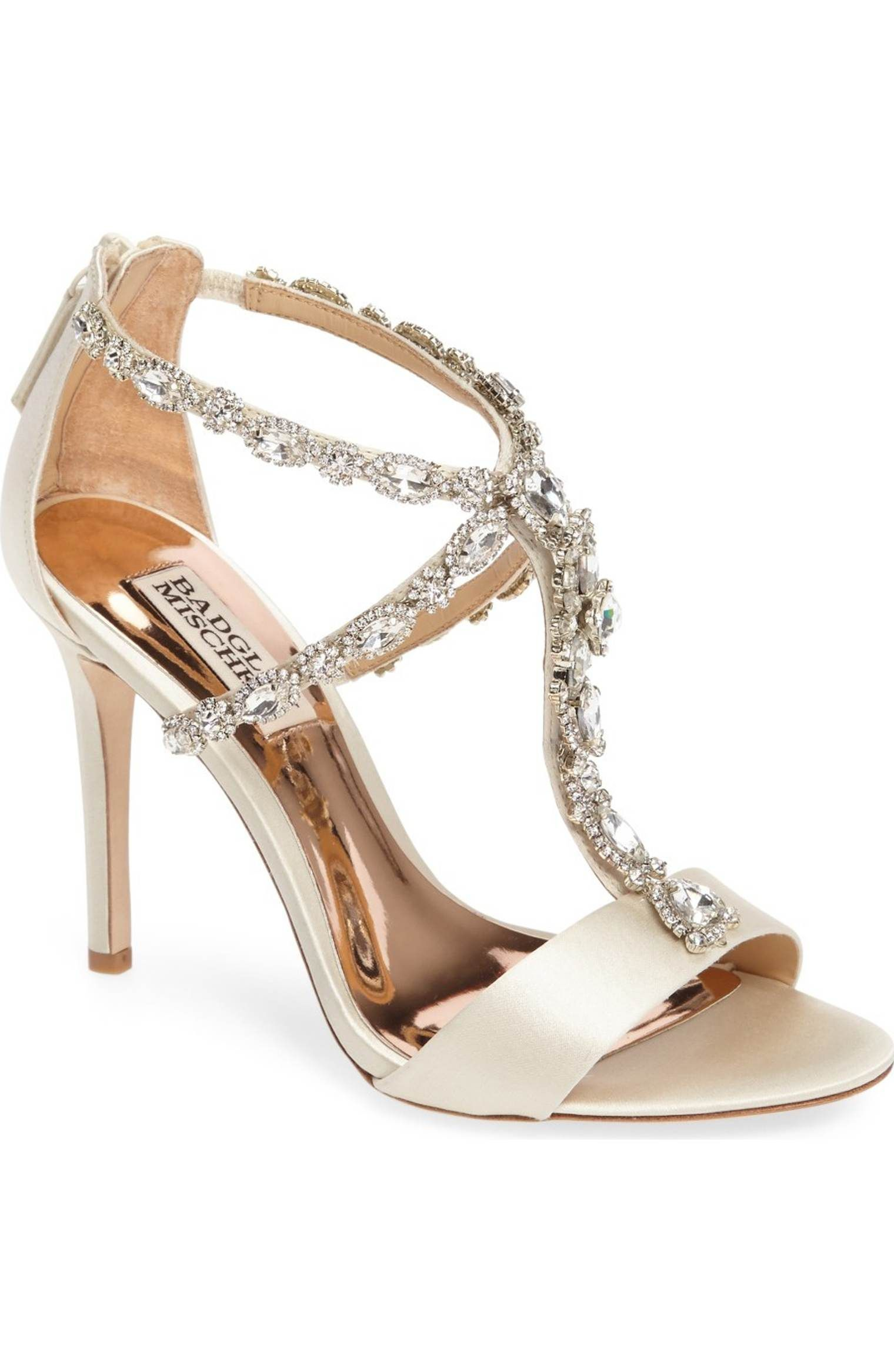 2ad74b96892 Main Image - Badgley Mischka Georgia Crystal Embellished T-Strap Sandal ( Women)