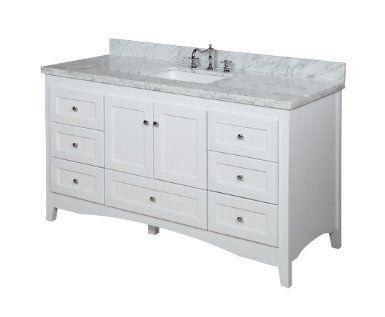 Abbey 60 Inch Single Bathroom Vanity Carrera White Includes Soft Close