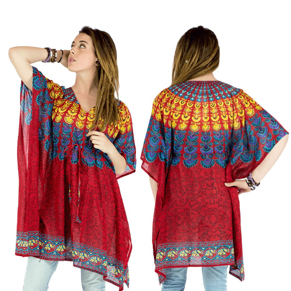 V tement d 39 t summer clothes top fa on poncho haut l ger large ample color inde n pal - Vetements hippie baba cool ...