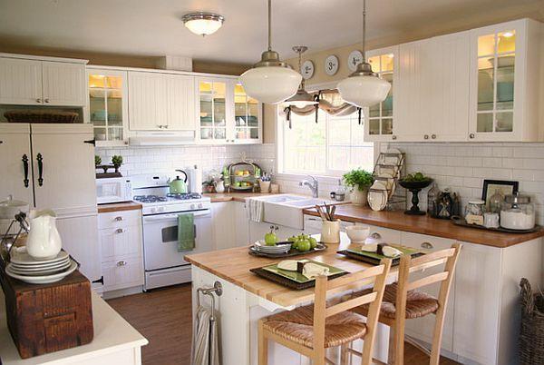 ห้องครัวเล็ก  Google Search  ตกแต่งบ้าน  Pinterest  Cottage Adorable L Shaped Country Kitchen Designs Decorating Design